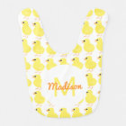 Girls Yellow Chick Pattern Animal Monogrammed Cute Bib