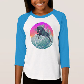 """Girl's Youth Unicorn Shirt """"Large"""" in Neon Blue"""