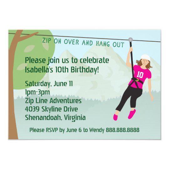 Girls Zip Line Lining Birthday Party Invites