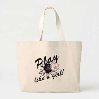 Girls's Soccer T-shirts and Gifts. Large Tote Bag
