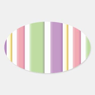 Girly 3D Stripey Pattern Oval Sticker