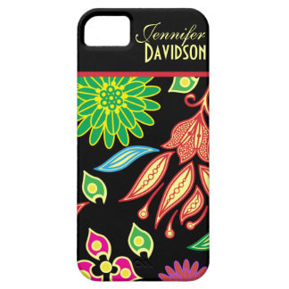 Girly Abstract Black Floral Monogram iPhone5 iPhone 5 Cases
