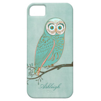 Girly Abstract Modern Teal Green Owl Monogram iPhone 5 Covers
