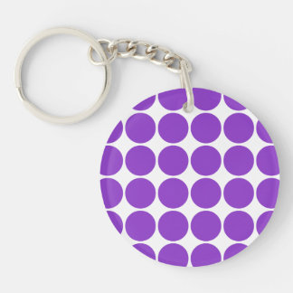 Girly Accessories Party Treats Violet Polka Dots Single-Sided Round Acrylic Key Ring