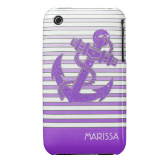 Girly Anchor Nautical Sailing Boat Ombre Stripes iPhone 3 Cover