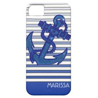 Girly Anchor Nautical Sailing Boat Ombre Stripes iPhone 5 Case