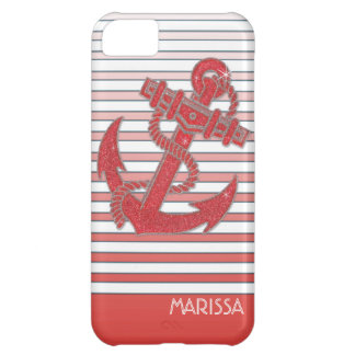 Girly Anchor Nautical Sailing Boat Ombre Stripes iPhone 5C Case