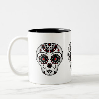Girly and cute day of the dead sugar skull Two-Tone coffee mug