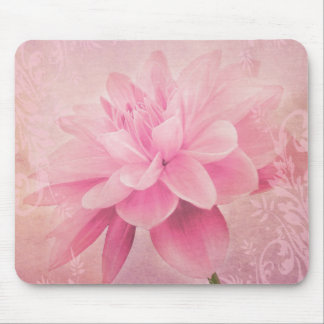 Girly and Feminine Pink Dahlia Textured Flower Mouse Mat