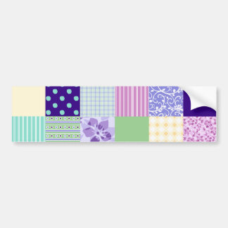 Girly and Fresh Pattern Squares Vector Quilt Bumper Sticker