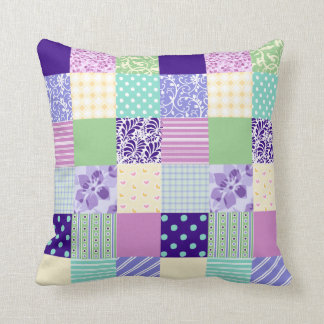 Girly and Fresh Pattern Squares Vector Quilt Cushion