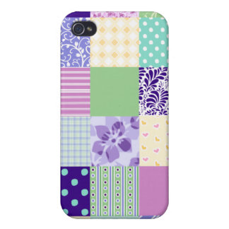 Girly and Fresh Pattern Squares Vector Quilt iPhone 4 Cover