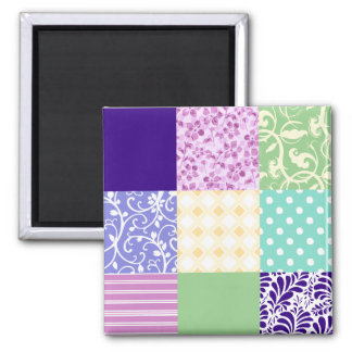 Girly and Fresh Pattern Squares Vector Quilt Magnet