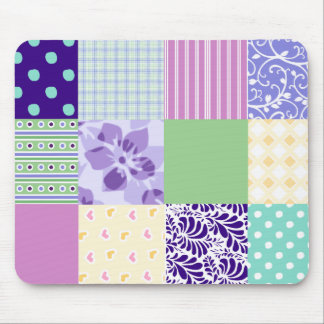 Girly and Fresh Pattern Squares Vector Quilt Mouse Pad