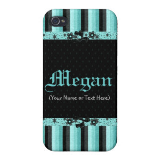 Girly and Turquoise Stripes iPhone 4 Cases