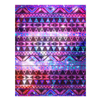 Girly Andes Aztec Pattern Pink Teal Nebula Galaxy 21.5 Cm X 28 Cm Flyer