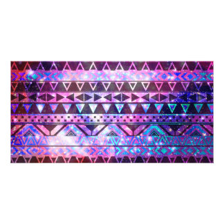 Girly Andes Aztec Pattern Pink Teal Nebula Galaxy Customized Photo Card