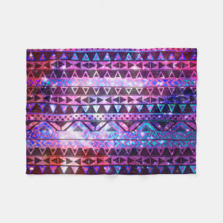 Girly Andes Aztec Pattern Pink Teal Nebula Galaxy Fleece Blanket