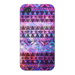Girly Andes Aztec Pattern Pink Teal Nebula Galaxy iPhone 4 Cover