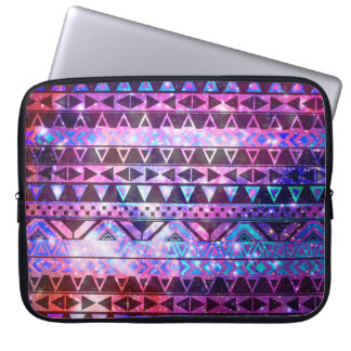 Girly Andes Aztec Pattern Pink Teal Nebula Galaxy Laptop Sleeve