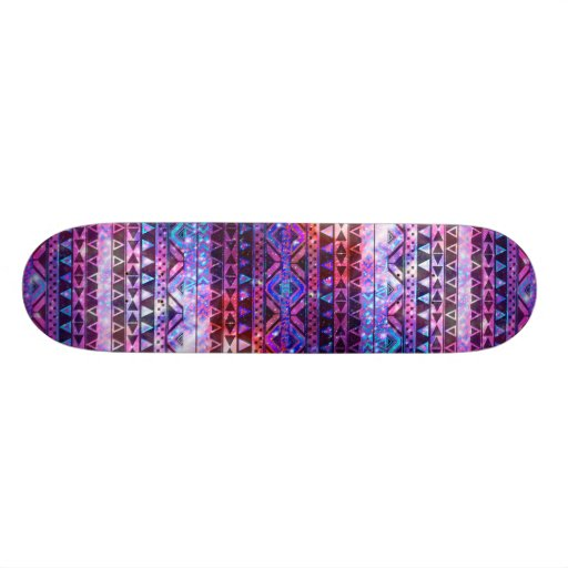 Girly Andes Aztec Pattern Pink Teal Nebula Galaxy Skate Deck