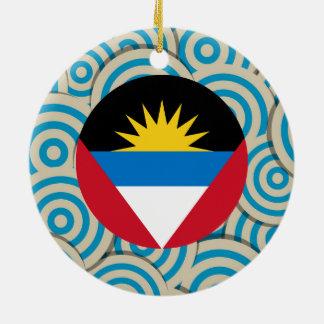 Girly Antiguan Flag Gift Round Ceramic Decoration