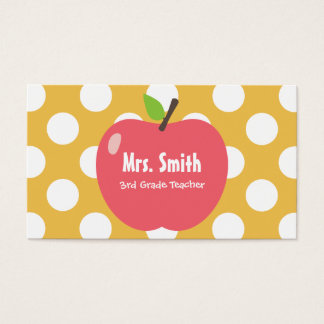 Girly Apple & Dots Yellow Teacher Business Card