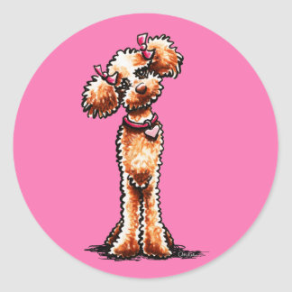 Girly Apricot Poodle Off-Leash Art™ Round Sticker