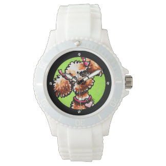Girly Apricot Poodle Off-Leash Art™ Wrist Watch