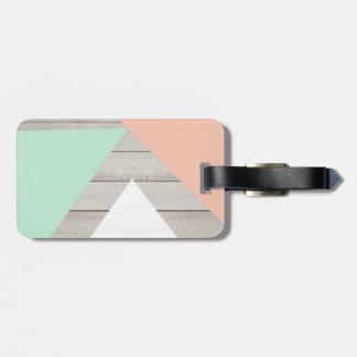 Girly Apricot Teal Gray Wood Modern Color Block Luggage Tag