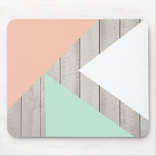 Girly Apricot Teal Gray Wood Modern Color Block Mousepads