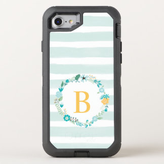 Girly Aqua and Yellow Floral Monogram OtterBox Defender iPhone 8/7 Case