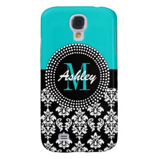 Girly Aqua Black Damask Your Monogram Name Samsung Galaxy S4 Case