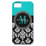 Girly Aqua Black Damask Your Monogram Name Case For The iPhone 5