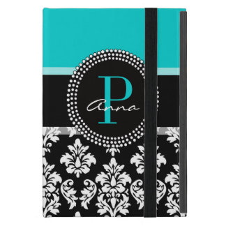 Girly Aqua Black Damask Your Monogram Name Cover For iPad Mini
