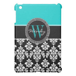 Girly Aqua Black Damask Your Monogram Name iPad Mini Case