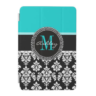 Girly Aqua Black Damask Your Monogram Name iPad Mini Cover