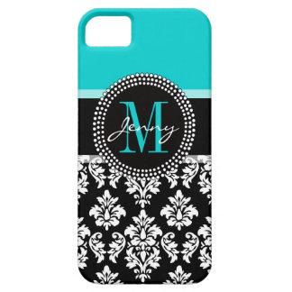 Girly Aqua Black Damask Your Monogram Name iPhone 5 Cover