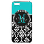 Girly Aqua Black Damask Your Monogram Name iPhone 5C Covers