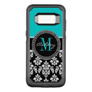 Girly Aqua Black Damask Your Monogram Name OtterBox Commuter Samsung Galaxy S8 Case
