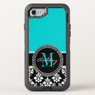 Girly Aqua Black Damask Your Monogram Name OtterBox Defender iPhone 8/7 Case