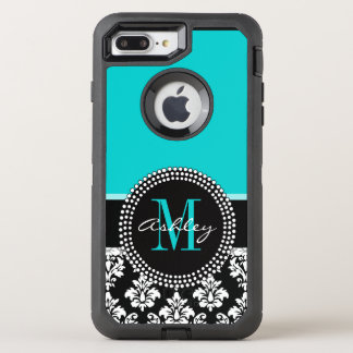 Girly Aqua Black Damask Your Monogram Name OtterBox Defender iPhone 8 Plus/7 Plus Case