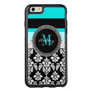 Girly Aqua Black Damask Your Monogram Name OtterBox iPhone 6/6s Plus Case