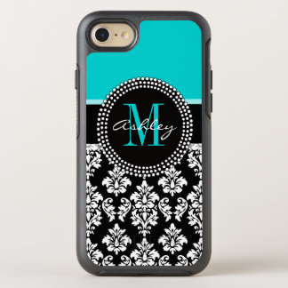 Girly Aqua Black Damask Your Monogram Name OtterBox Symmetry iPhone 8/7 Case