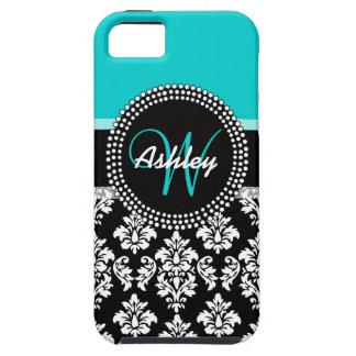 Girly Aqua Black Damask Your Monogram Name Tough iPhone 5 Case