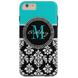 Girly Aqua Black Damask Your Monogram Name Tough iPhone 6 Plus Case