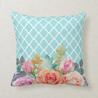 Girly Aqua Blue Quatrefoil Peach Rose Floral Throw Pillow