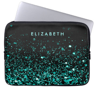 Girly Aqua Blue Teal Green Glitter Black Sleeve Laptop Computer Sleeves