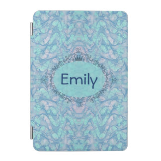 Girly Aqua Blue Tie Dye Your Monogram Name iPad iPad Mini Cover