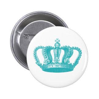 Girly Aqua Blue Vintage Crown 6 Cm Round Badge